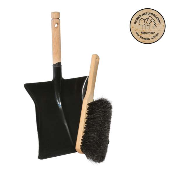Kehrset KehrbesteckKehrschaufel schwarz lackiert + Handfeger mit Rosshaar