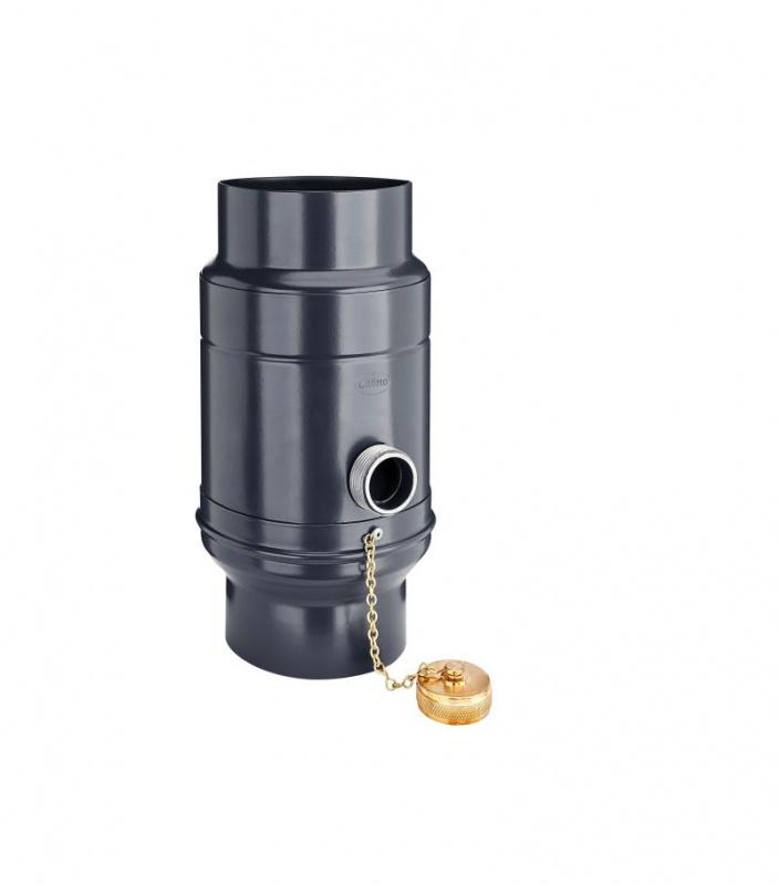 GRÖMO Regenwassersammler Titanzink  ø87 mit Schlauchpaket Wassersammler